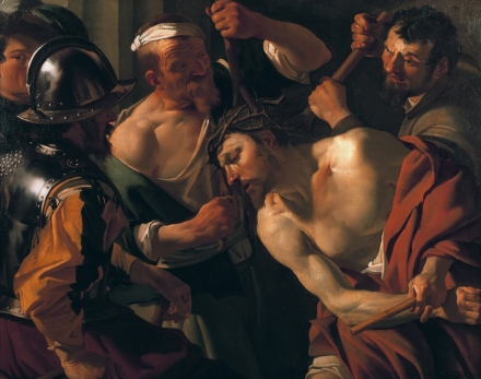 The crowning with thorns (Matthew 27:27-31; Mark 15:16-20; John 19:2-3) *oil on canvas *106 x 136 cm *signed t.r.: Baburen f. *1622-1623