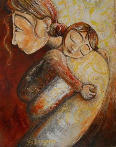 Forgive - mother and child hugging print by Katie m. Berggren