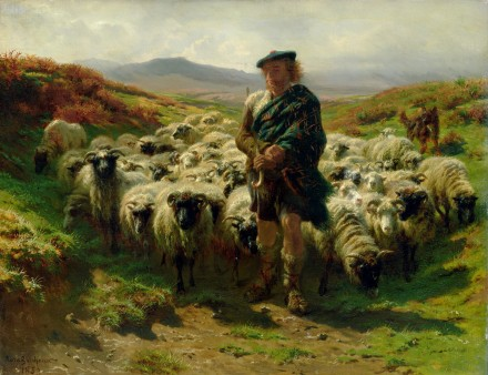 XKH141034 The Highland Shepherd, 1859 (oil on canvas); by Bonheur, Rosa (1822-99); 49x63 cm; Hamburger Kunsthalle, Hamburg, Germany; French, out of copyright