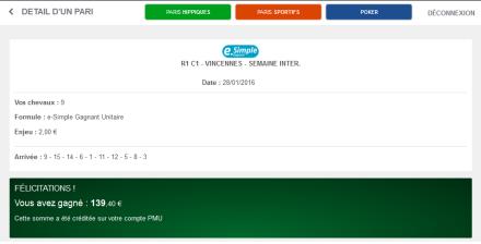 139€ gagnés avec une mise de 2€ le 280116