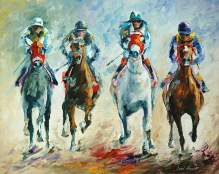 Horse Racing Painting by Collection 1; Horse Racing Art Print for sale